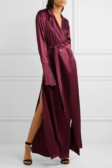 Burgundy silk-satin Button fastenings at double-breasted front 100% silk Dry clean Designer color: Bordeaux Imported