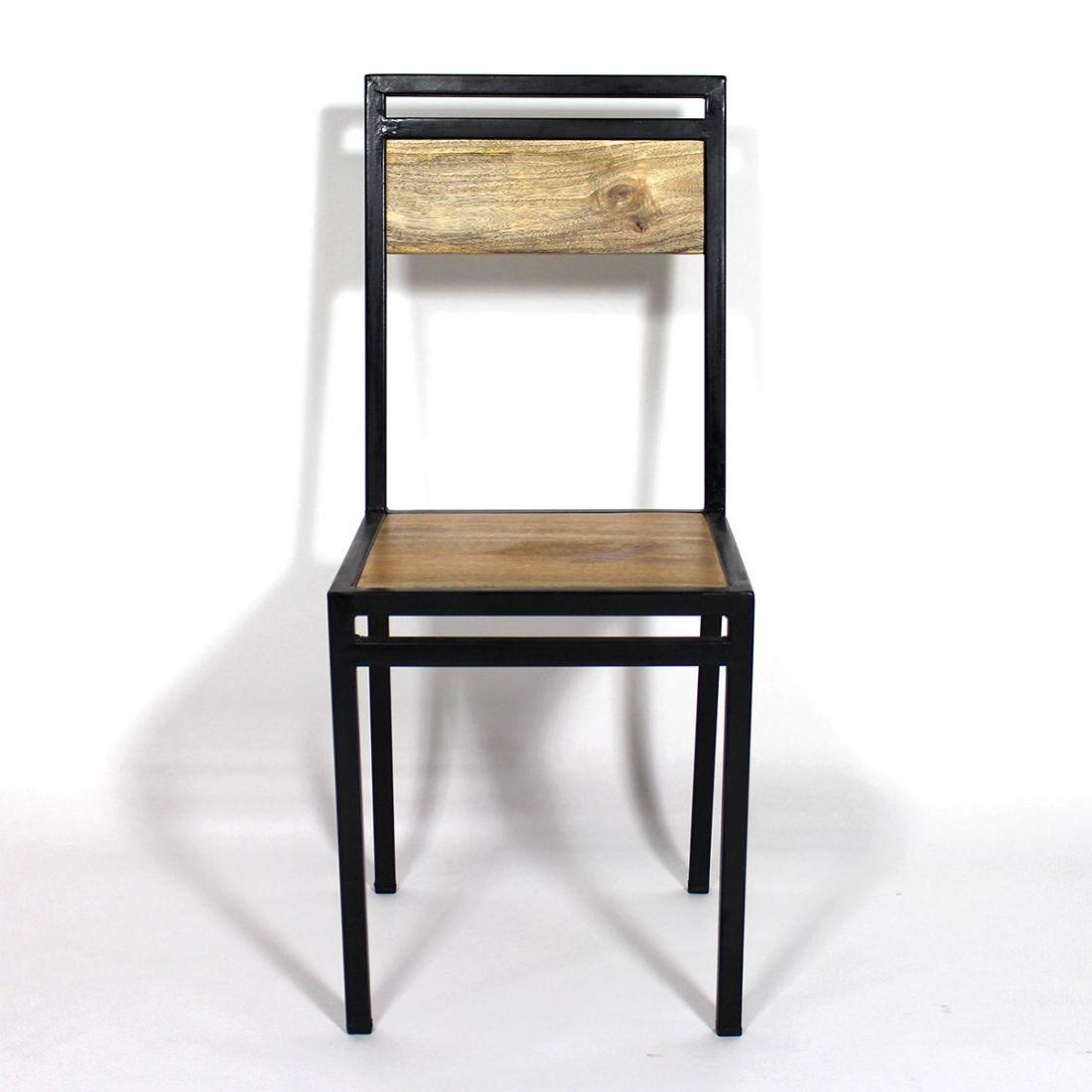 Chaise Industrielle Metal Et Bois De Manguier Chaise