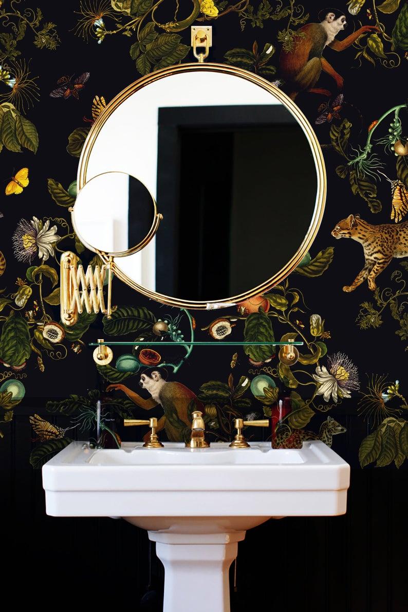 Kitchen And Bathroom Splashback Removable Vinyl Wallpaper Etsy In 2021 Bathroom Splashback Splashback Bathroom Design