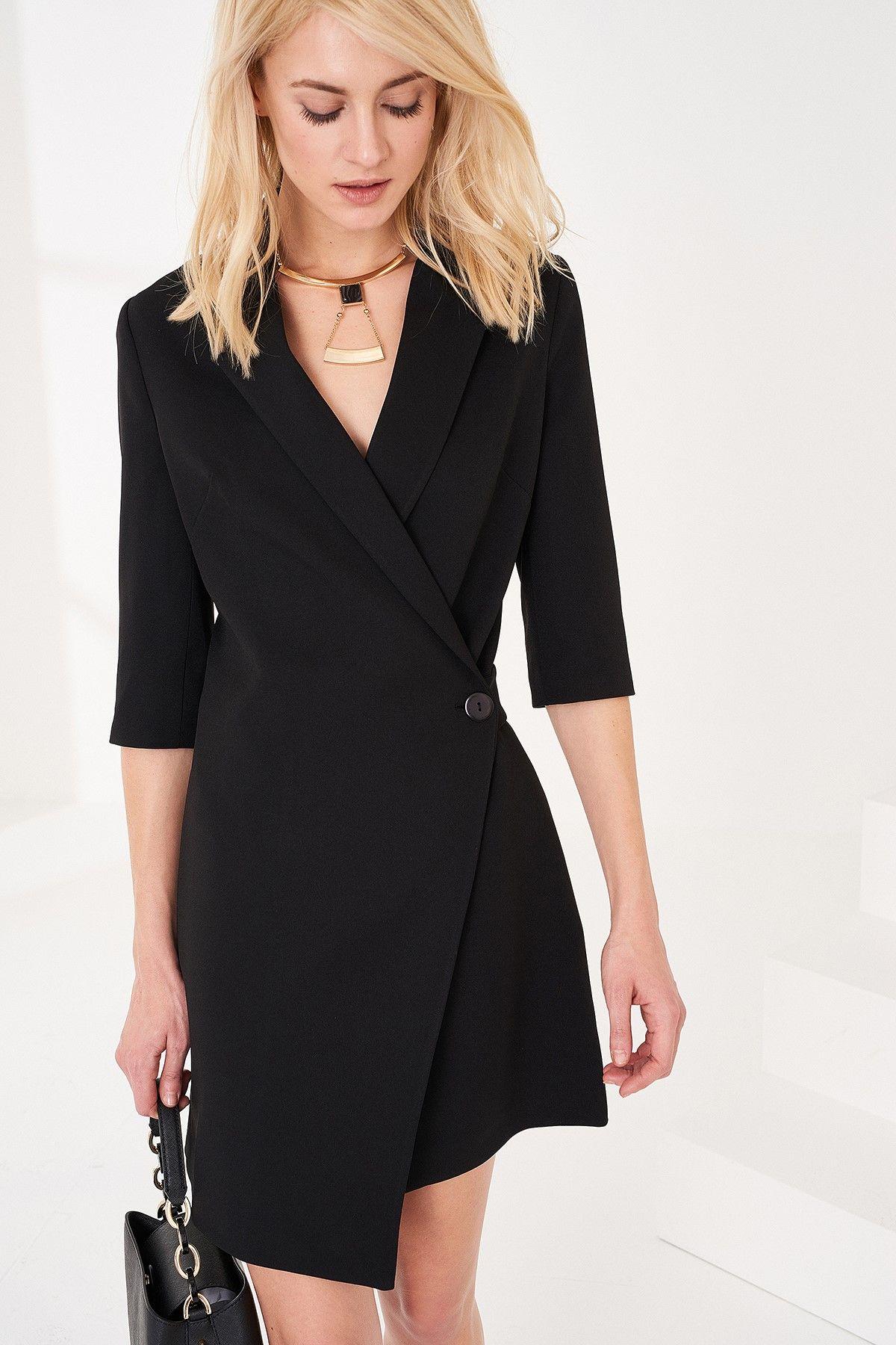 Siyah Onden Tek Dugmeli Ceket Elbise Trendyolmilla Trendyol Blazer Elbise Elbise Siyah Elbise