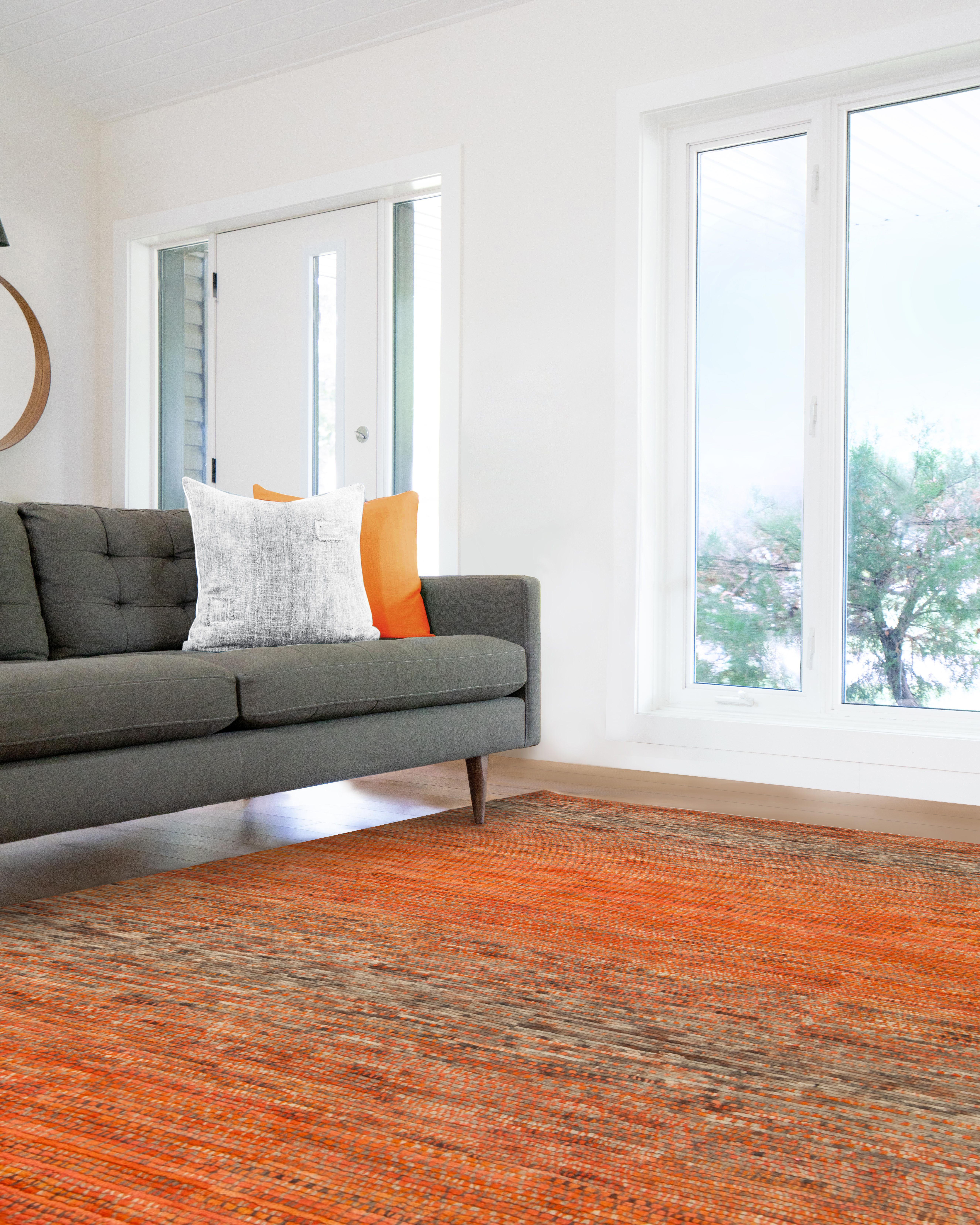 Orange Rug Livingroom Decor | Orange rugs, Living room decor
