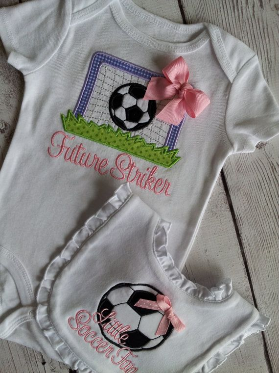 8eb245802 Soccer Ball and Goal Personalized Appliqued Baby Boy or Girl Onesie ...