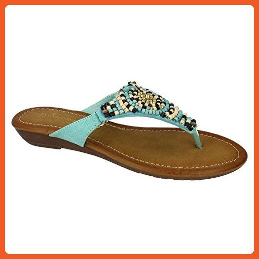 Savannah Womens Ladies Low Wedge Beaded Toe Post Sandals 8 Us Blue Sandals For Women Amazon Partner Link Toe Post Sandals Sandals Beaded Sandals