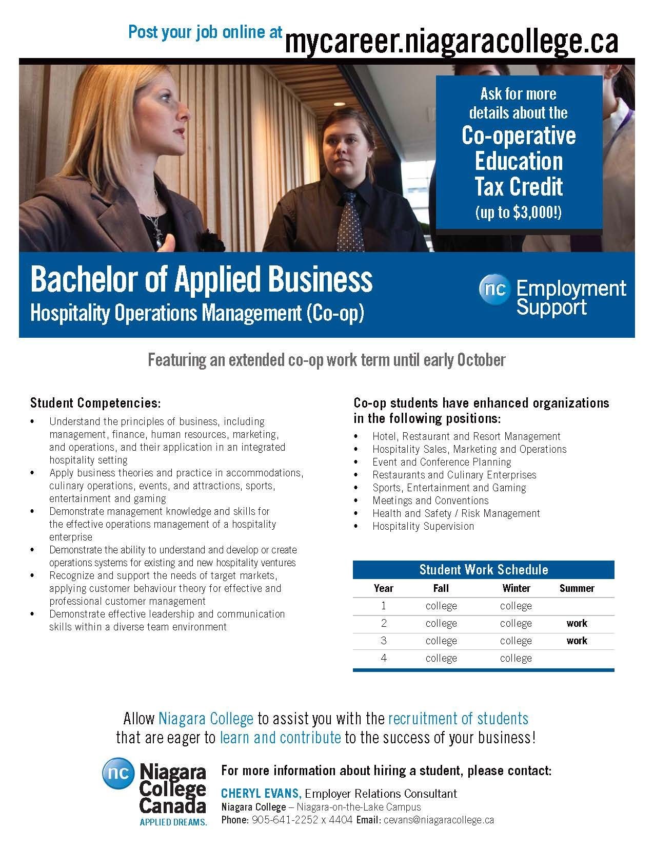Bachelor of applied business niagara college canada co