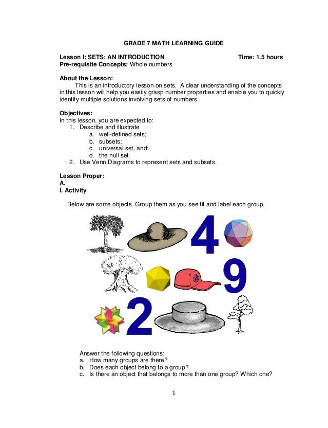 1 GRADE 7 MATH LEARNING GUIDE Lesson I: SETS: AN INTRODUCTION Time ...
