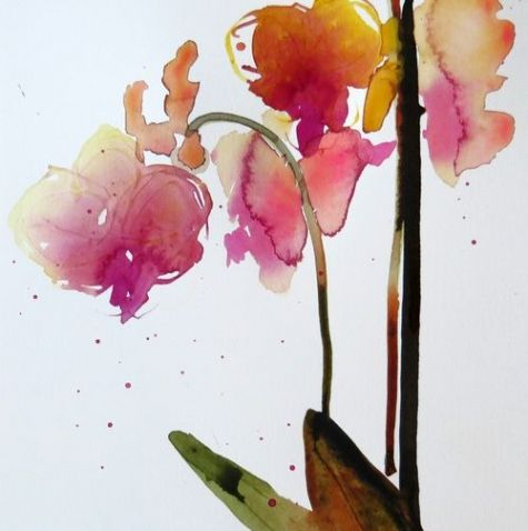 Provigo Orchid #6, watercolour + ink on Portofino paper, 8 x8 , 2013, painting by artist edith dora rey