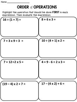 28+ Free order of operations worksheets Live