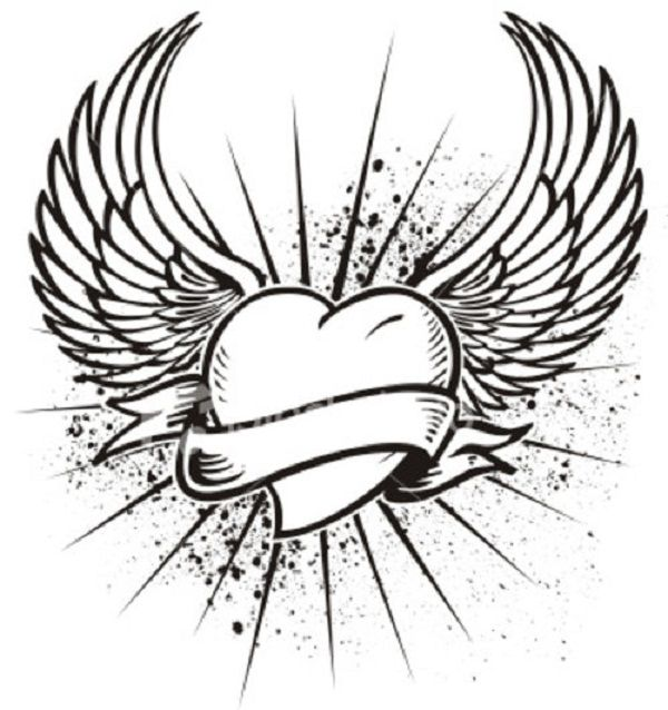 Cool heart with wings coloring pages Enjoy Coloring Best