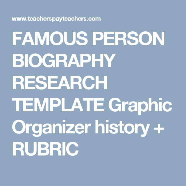 FAMOUS PERSON BIOGRAPHY RESEARCH TEMPLATE Graphic Organizer history ...