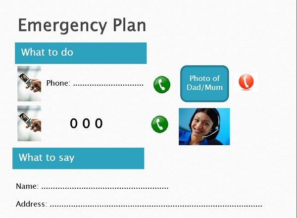 An Emergency Plan to place near the phone if (heaven forbid) your children should need to call help!