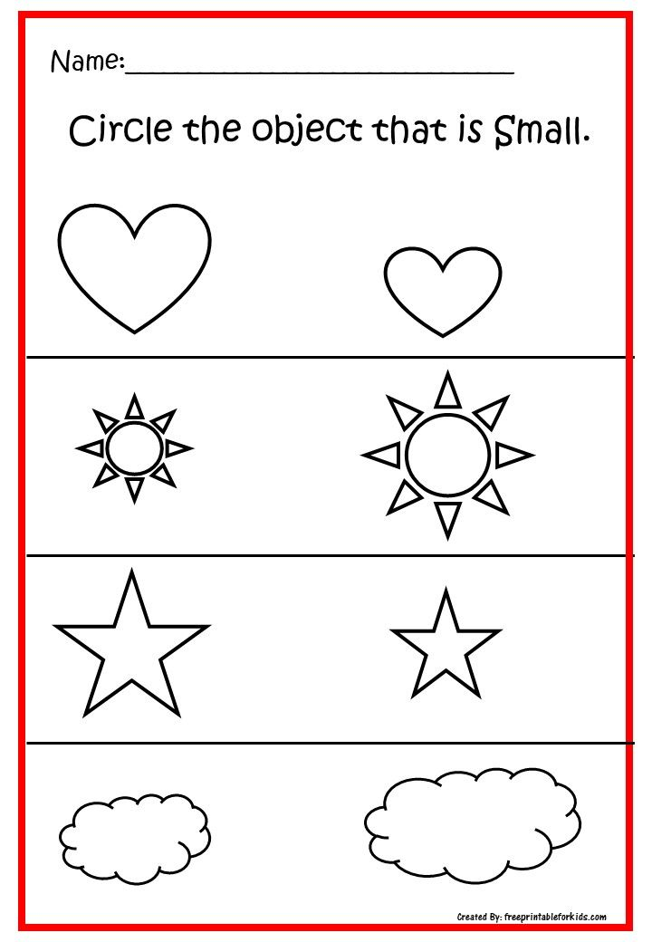 Pre-K printable worksheets.Practice concept Big And Small ...
