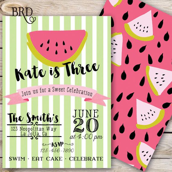 Summer birthday watermelon invitation birthday party for Decor 07834