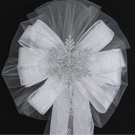 Silver Glitter Snowflake Wedding Pew Bow - Church Wedding Bows ...