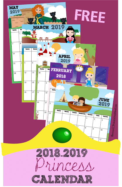 Princess Calendar 2019-2020 (With Images) Kids Calendar