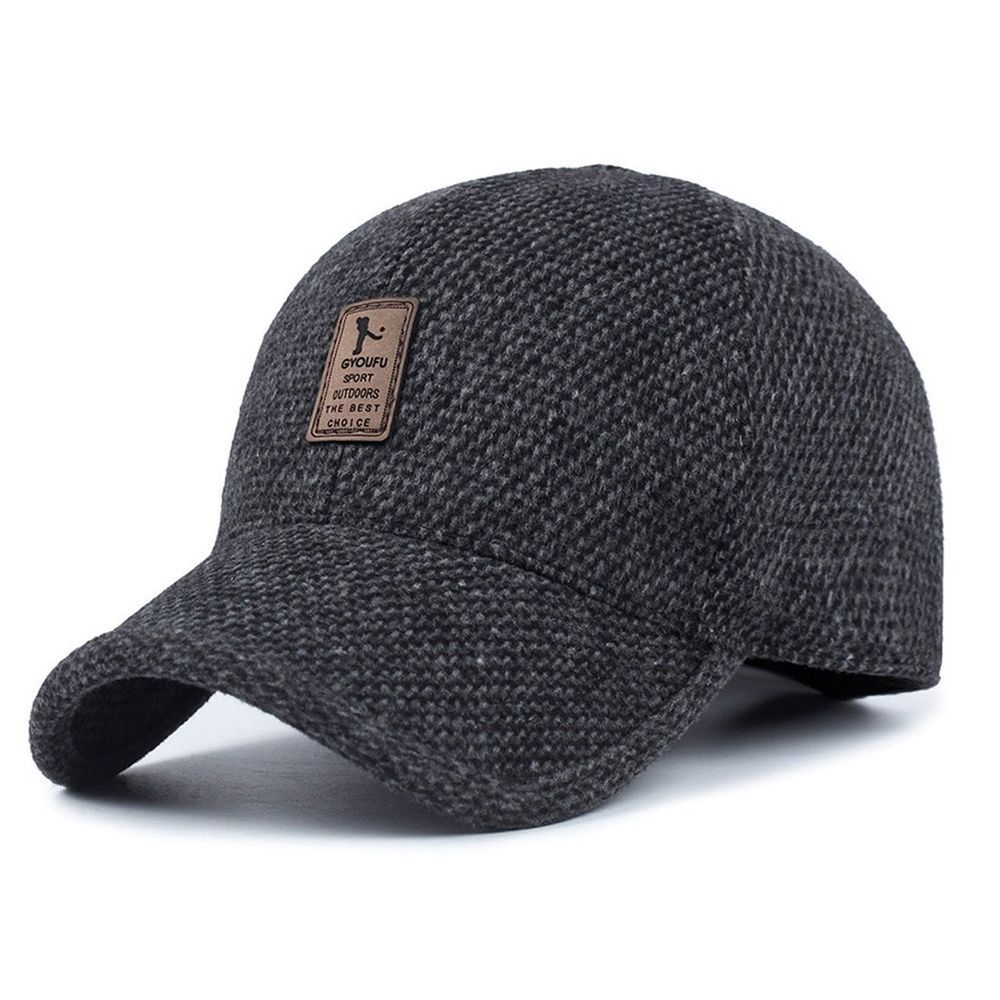 2565b750583 King Star Mens Winter Wool Woolen Tweed Peaked Earflap Baseball Cap Black   fashion  clothing