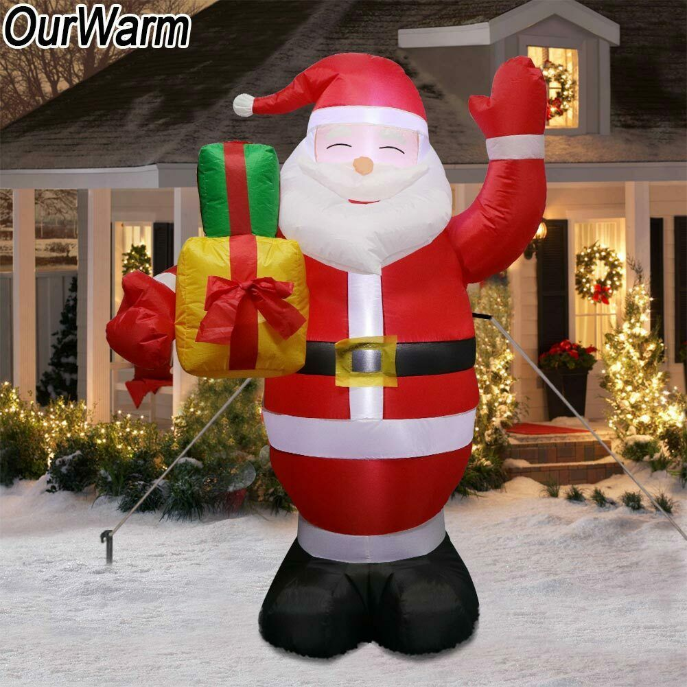 5ft Christmas Inflatables Greeting Santa with Light Up Yard