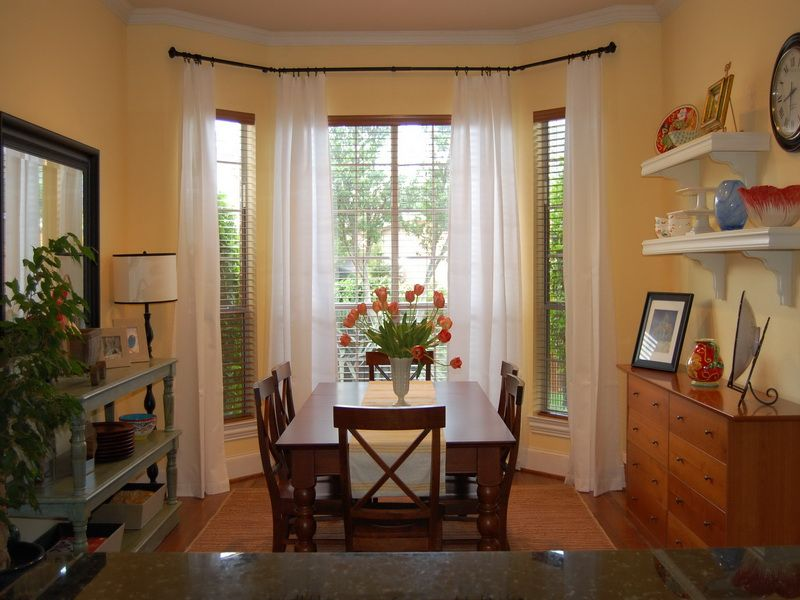 Nice Dining Room Window Ideas Part - 6: White Dining Room Design With Incredible Curtain For Large Bay Windows