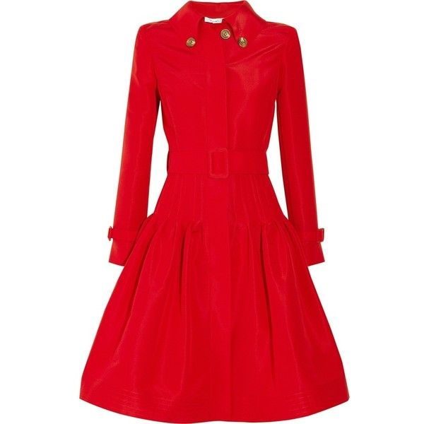 Oscar de la Renta Full-skirted silk-faille coat ❤ liked on Polyvore featuring outerwear, coats, jackets, dresses, tops, silk coat, red full skirt, oscar de la renta, full skirt and oscar de la renta coat