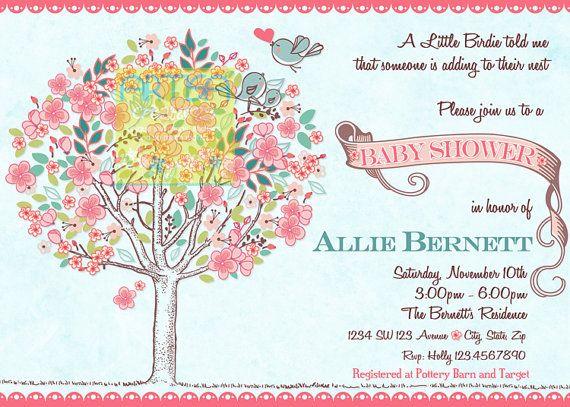 Tree birds baby shower invitation bloom birds and tree baby shower treebirdsbabyshowerinvitationbirdsandbyartisacreations1200 filmwisefo