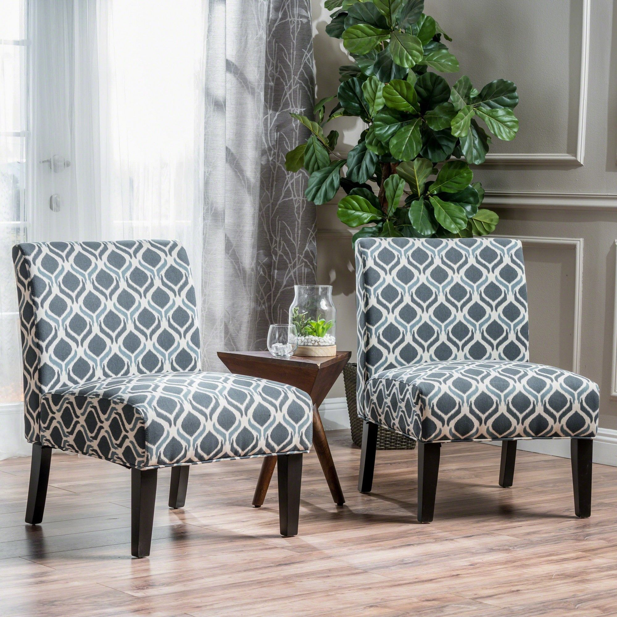 Best Kassi Accent Chair Blue Cream Set Of 2 Christopher 400 x 300