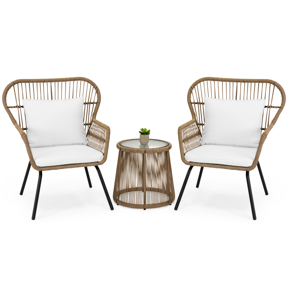 Best Choice Products 3 Piece Outdoor All Weather Wicker Conversation Bistro Furniture Set W 2 Ch Backyard Furniture Resin Patio Furniture Glass Top Side Table