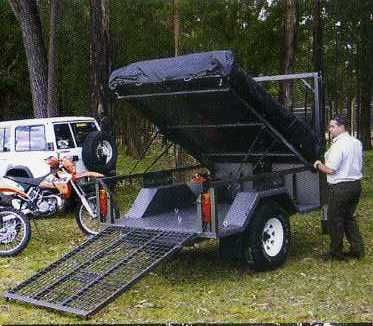 Motorbike Camper Trailer Offroad 4wd 4x4 With Tent Fits 3 X Motor Bikes Quad Bikes Or Dirt Bikes Camping Trailer Diy Camper Trailers Quad Trailer
