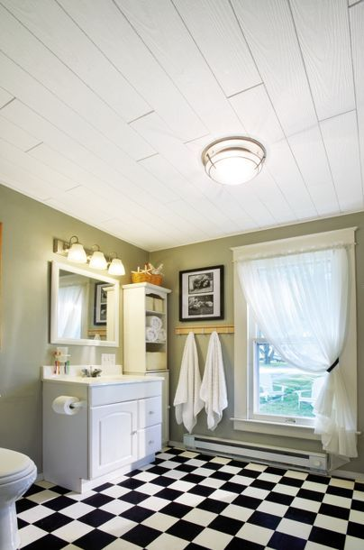 The Wide Country Classic Planks From Armstrong Add A Chic Finish To This Vintage Rustic Bathroom Popcorn Ceiling Armstrong Ceiling