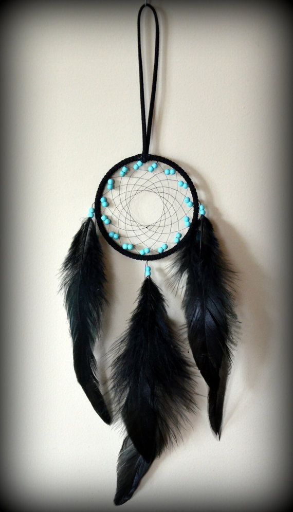 Black Suede Dream Catcher with turquoise by DreamySummerNights, $7.00