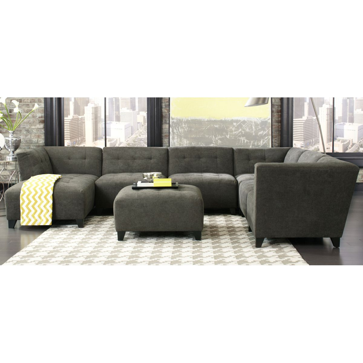 Page Rc Willey: Classic Modern Granite Gray 6 Piece Sectional Sofa