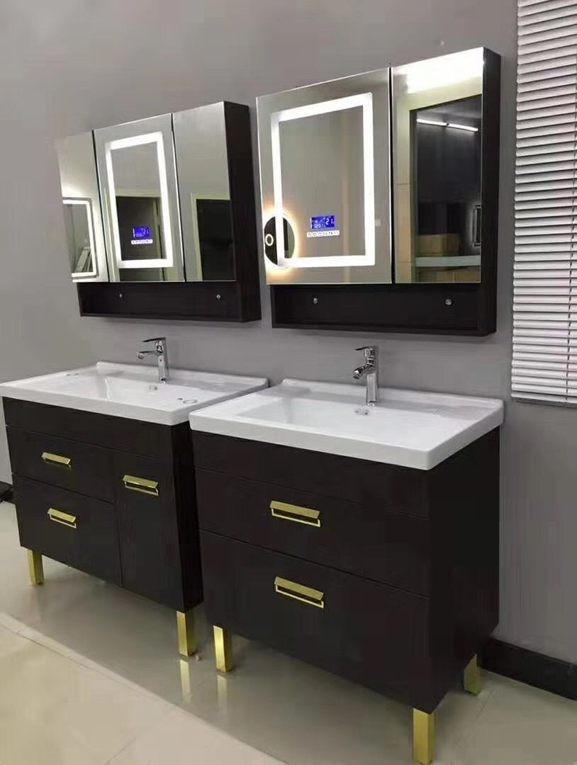 Double Basin Vanity With Led Mirror Cabinet Led Mirror Bathroom Mirror Cabinets Vanity