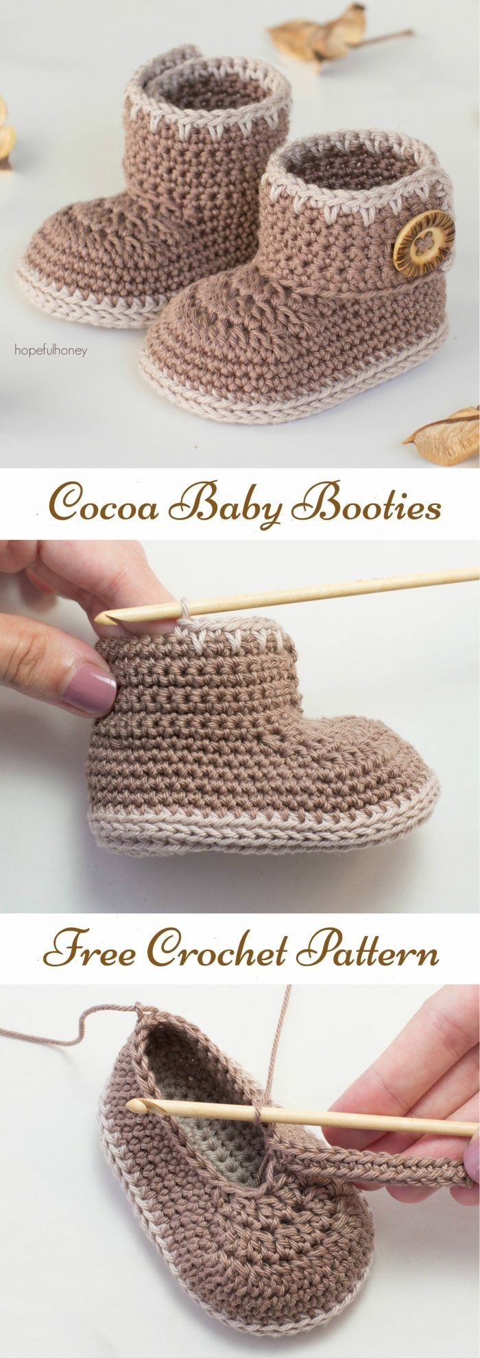 Cocoa Baby Booties Free Crochet Pattern