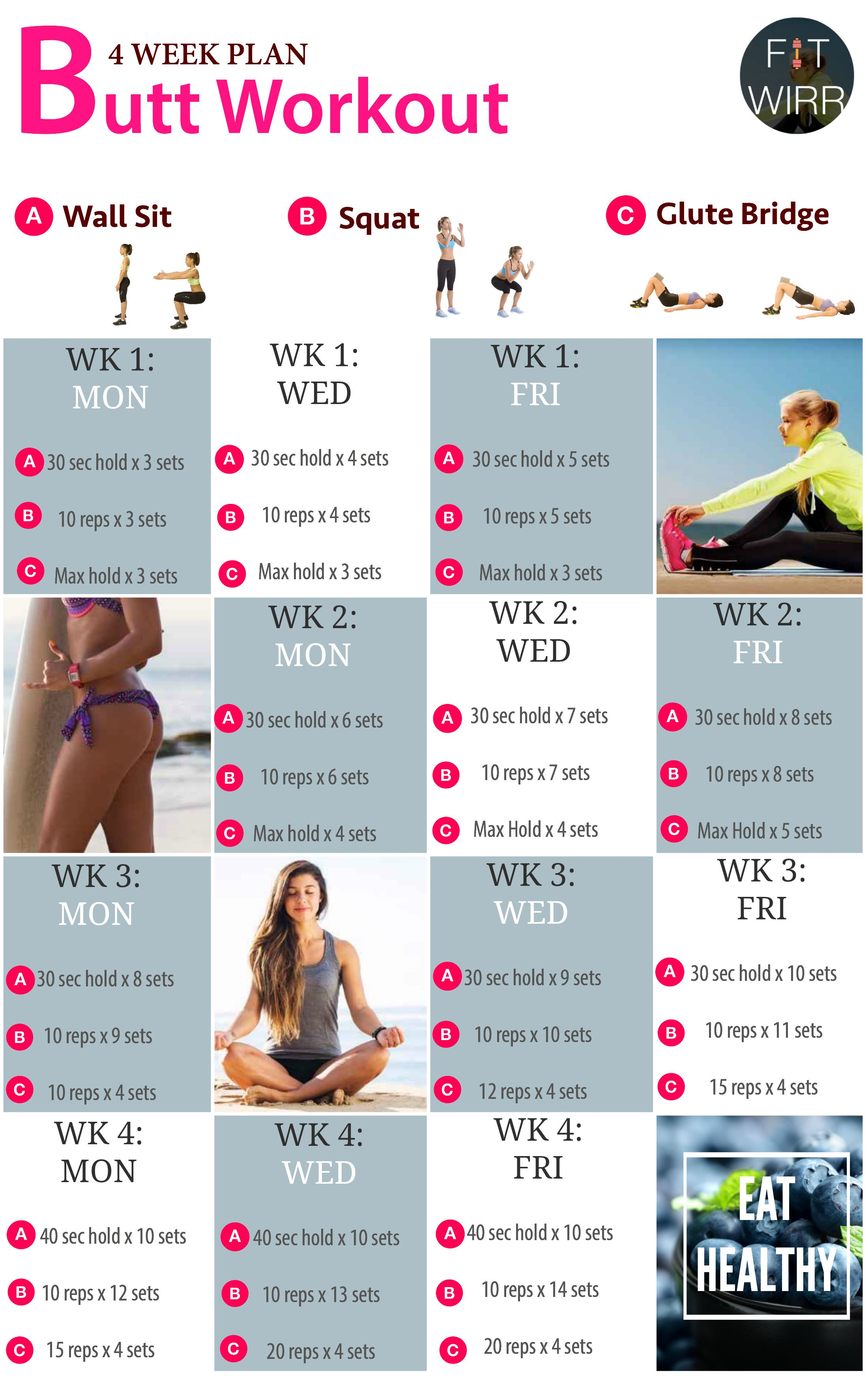 4 Week Butt Lift Bodyweight Workout Challenge Beginners Routines To Your