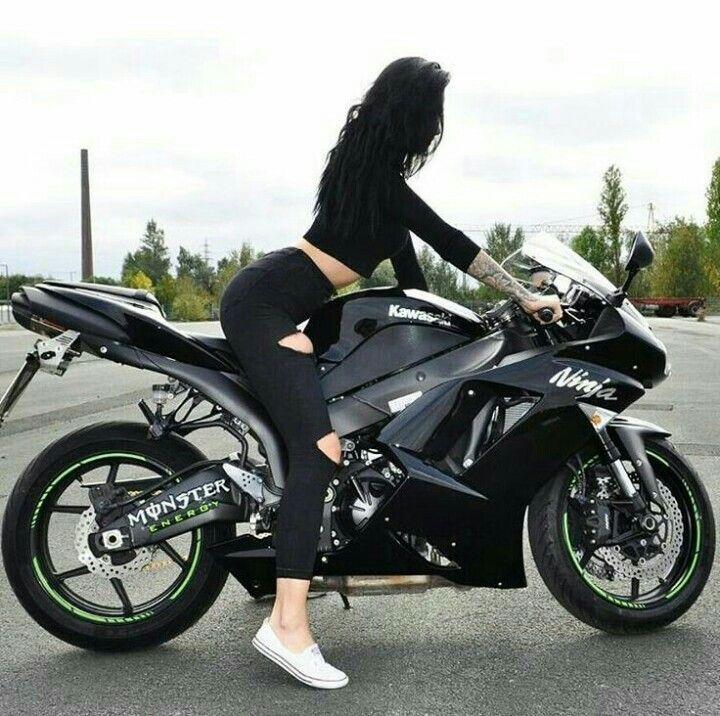Black Kawasaki Ninja Motorcycle And Biker Girl Ninja Kawasaki