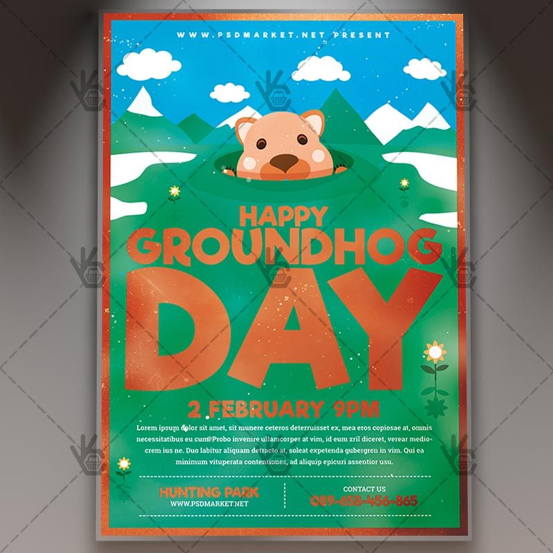 Happy Groundhog Day - Seasonal Flyer PSD Template #groundhogday - independence day flyer