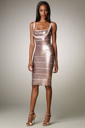 Herve Leger Sequin Bandage Dress in Dune | Hervé Léger | Pinterest ...