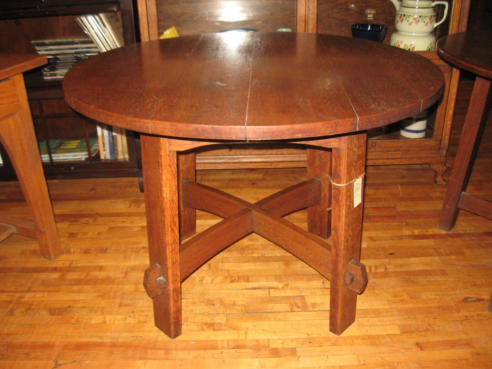 Mission Oak Charles Stickley 40 1812 Round Side Dining Table