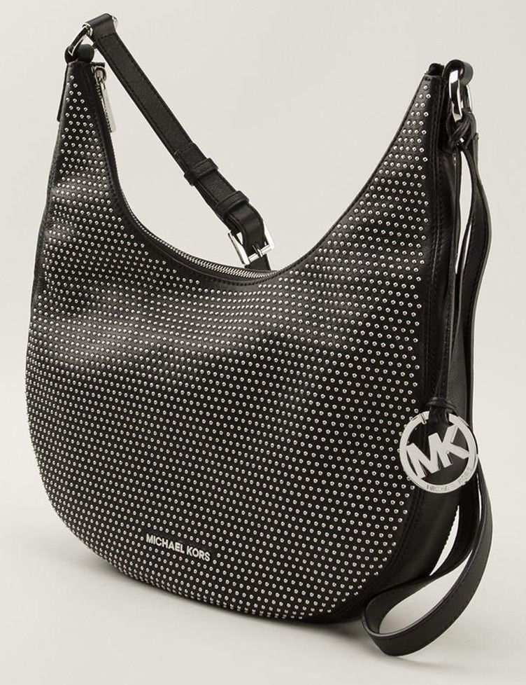 20b33166a29ac NWT Michael Kors Black Leather Silver Studded Hobo Crossbody Shoulder Bag   448  MichaelKors  Hobo