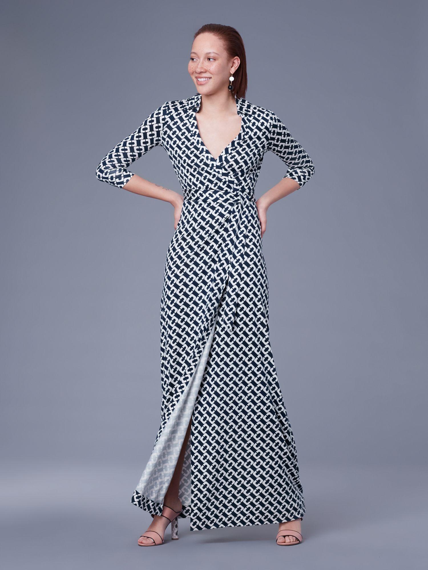 104c1f09ee Diane Von Furstenberg Dvf Abigail Silk Jersey Wrap Dress - Chainlink Medium  New Navy 14