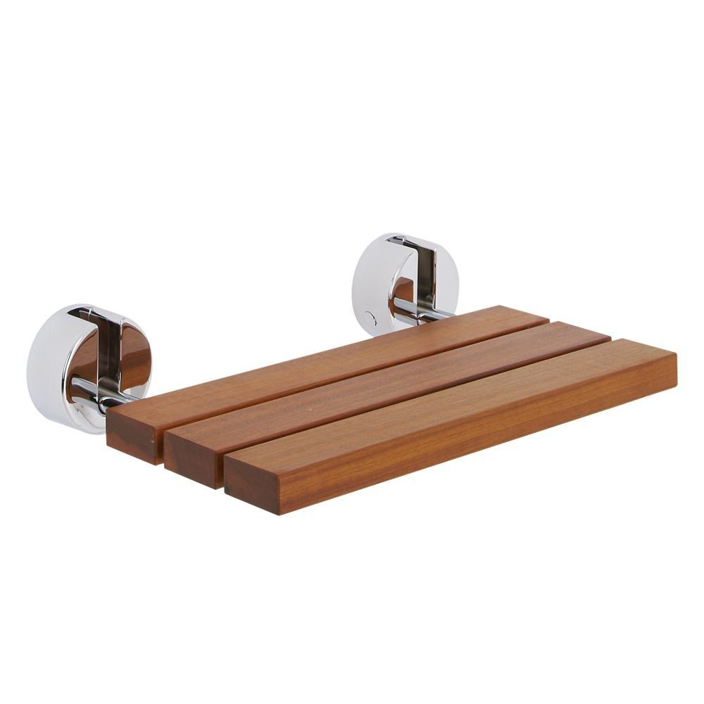Bengal Teak Folding Shower Seat with Chrome Brackets | New House ...