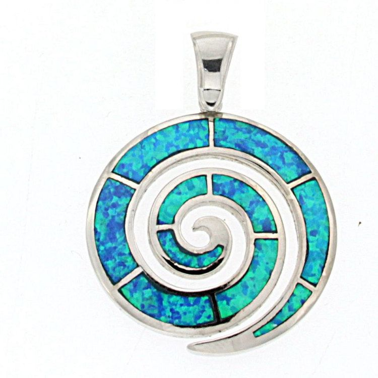 Spiral charm opal sterling silver spiral charm greek opal spiral blue opal silver spiral pendant spiral pendant by thetistreasures aloadofball Image collections