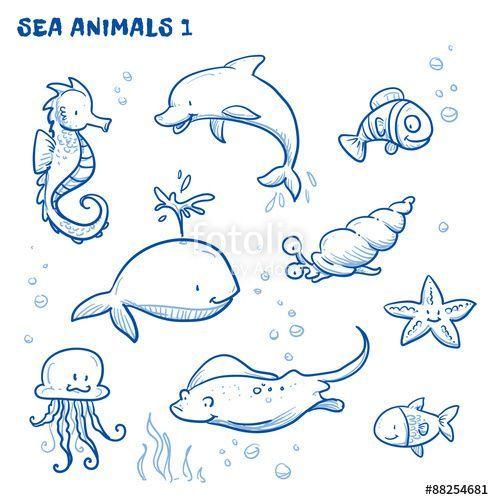 Laden Sie Den Lizenzfreien Vektor Cute Cartoon Sea Water Animals Whale Fish Laden Sie Den Lizenzfreien V In 2020 Water Animals Fish Drawings Dolphin Drawing