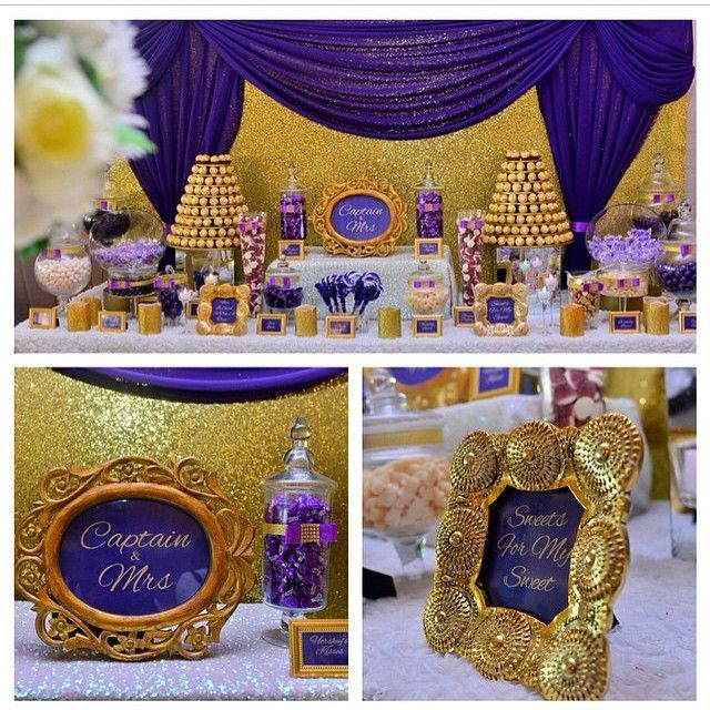 Purple And Gold Candy Buffet By Sweetcravingsdesserts