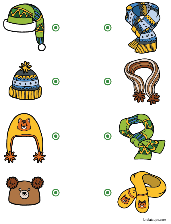 Exercice Ludique Pour Enfants De Maternelle Ms Relier Les Bonnets Aux Echarpes Jeux Gratuits Pour Enfants Jeux Educatifs Maternelle Activite Enfant 3 Ans