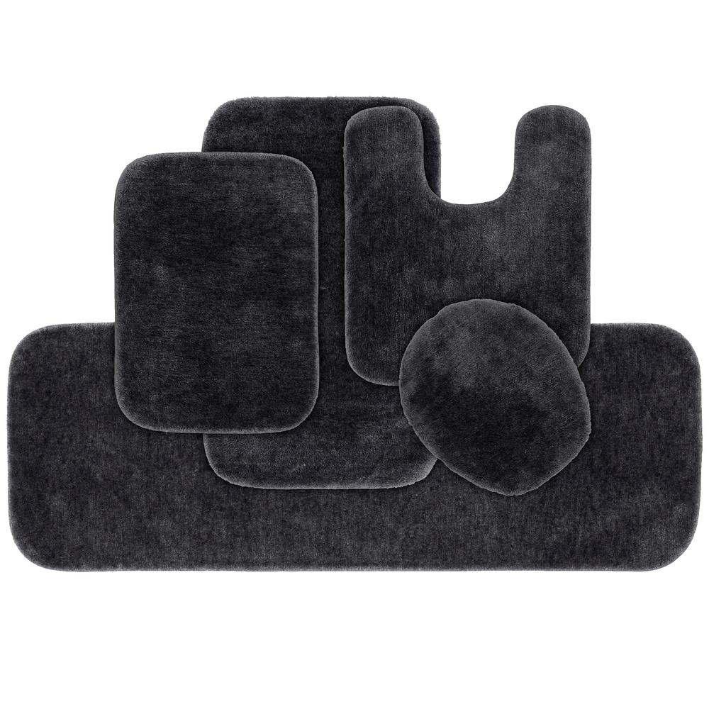 Dark Gray 5 Piece Washable Bathroom Rug