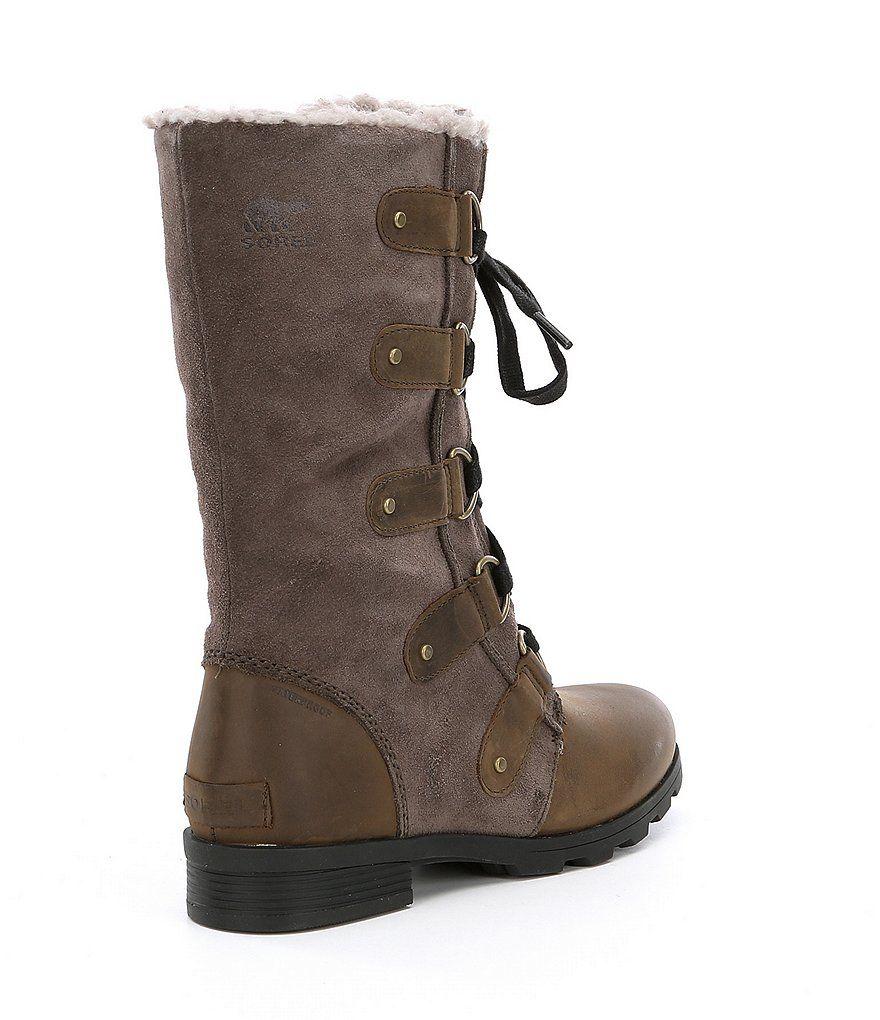 14d6e0d24c9 SOREL Women's Emelie Lace Mid Winter Waterproof Faux Fur Block Heel ...
