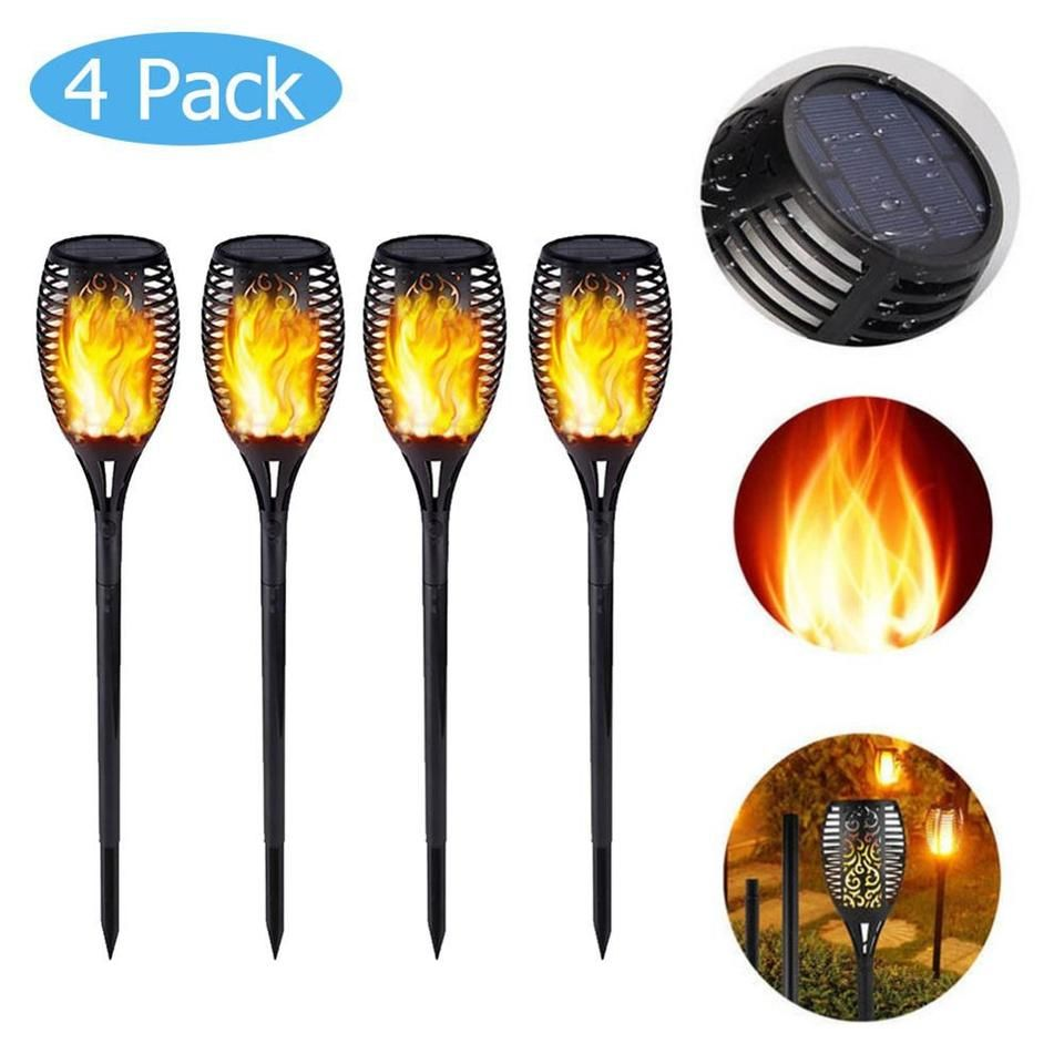 96 LED Waterproof Flickering Flames Solar Tiki Torches Light Garden Lamp 9 Pack