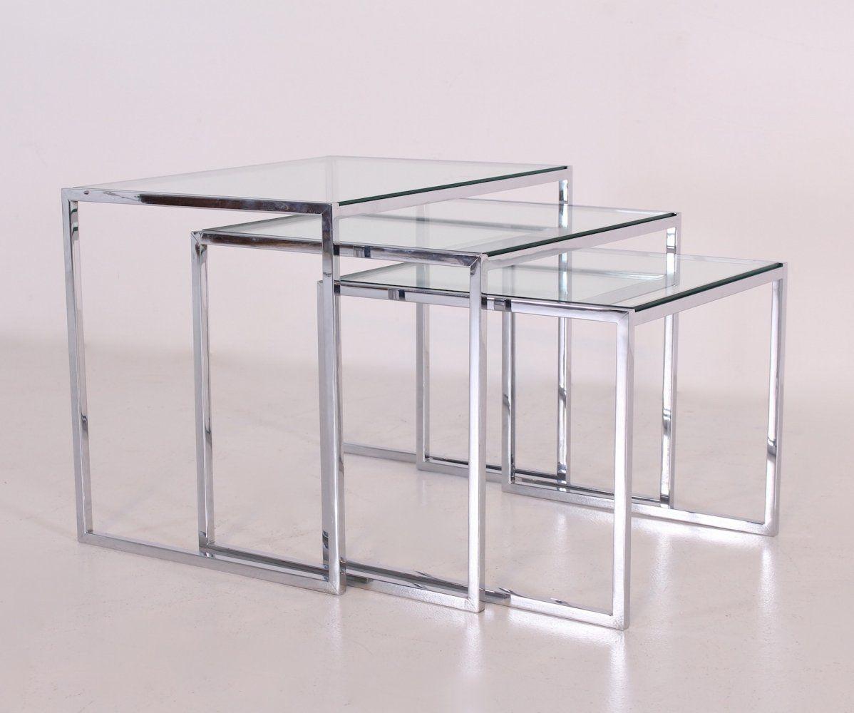For Sale Modernist Chromed Steel Glass Nesting Tables Muebles