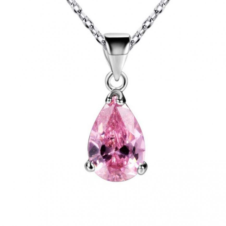 prong set light rose teardrop gemstone pendant brass necklaces