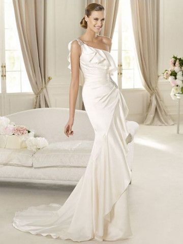 Imitated Silk One Shoulder Ruffle Strap Mermaid Wedding Dress