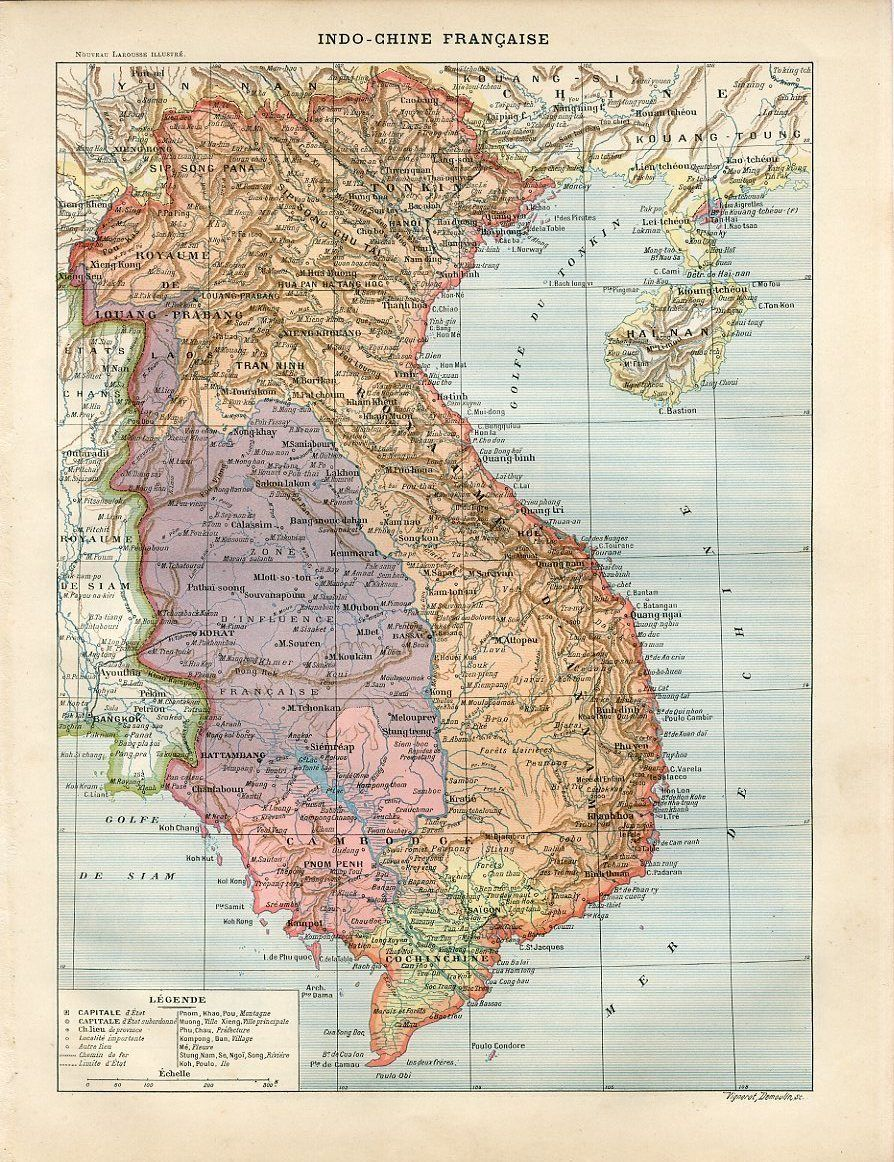 1897 French Indochina Vietnam Cambodia People | Travel Art